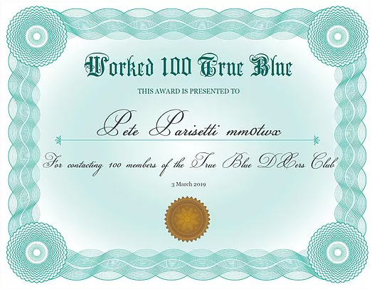 WORKED 100 TRUE BLUE